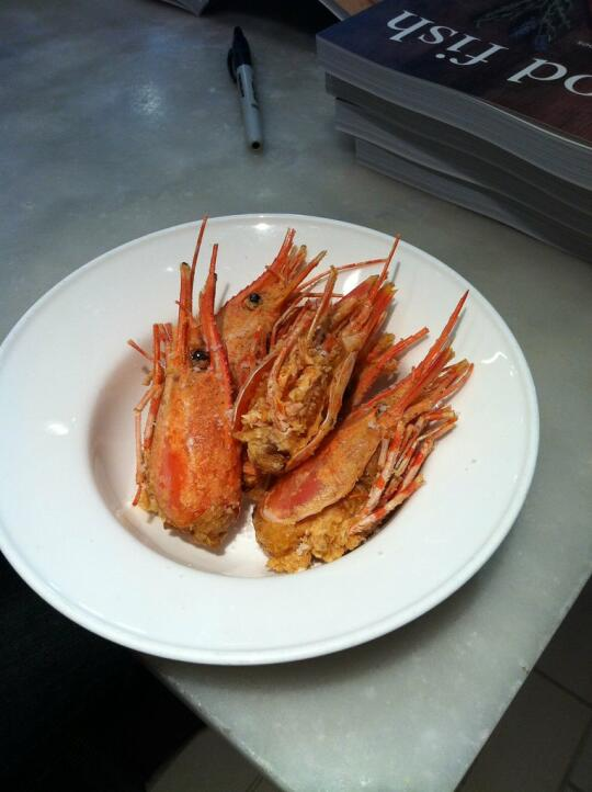 Fried spot prawn heads