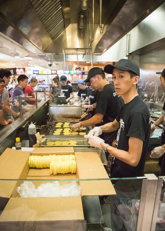 Ramen burger prep line