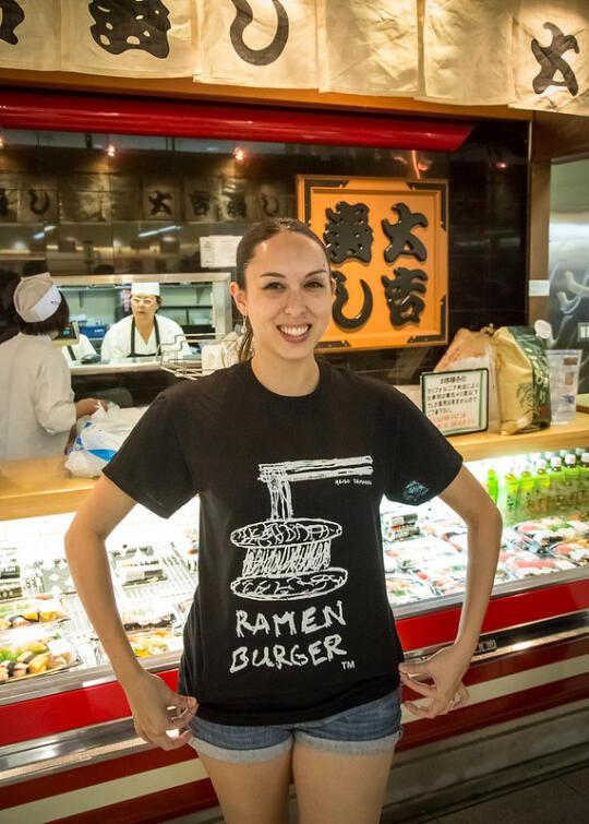 Allison with her ramen burger shirt