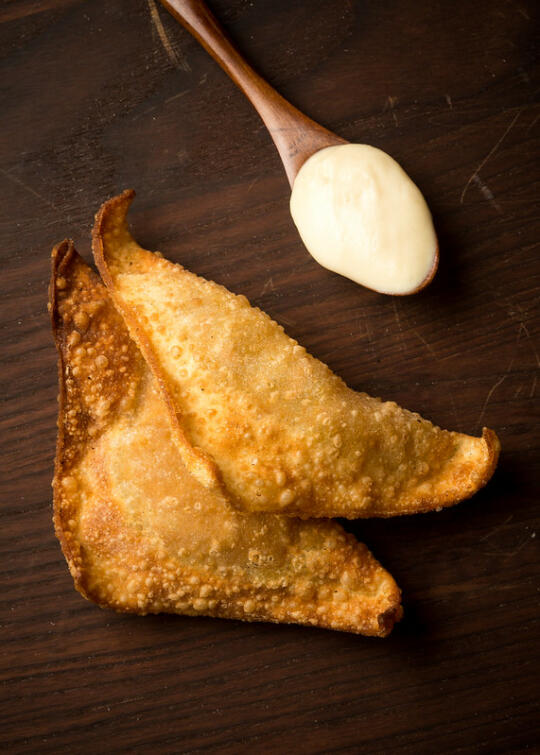 Pumpkin Pie Wontons with Maple Whipped Cream