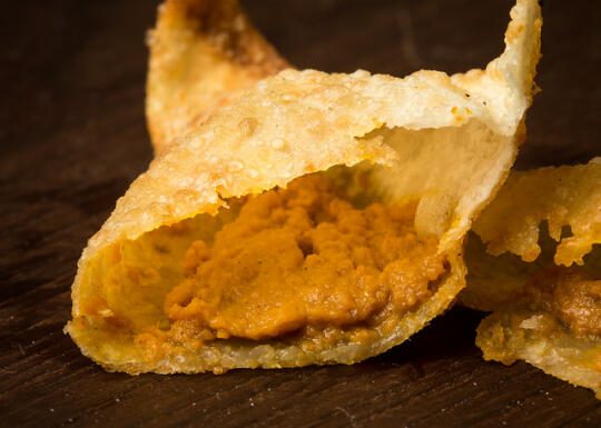 The inside of a pumpkin pie wonton