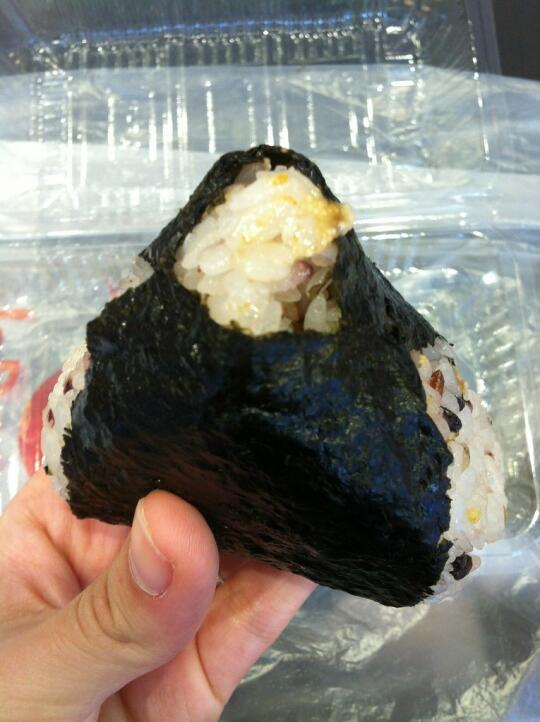 Grilled cod roe with mayo onigiri