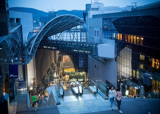 The view down 10+ flights of escalators to the bottom of Kyoto station
