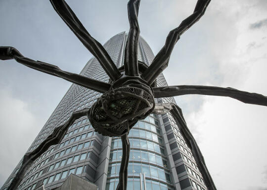 Beneath the spider statue