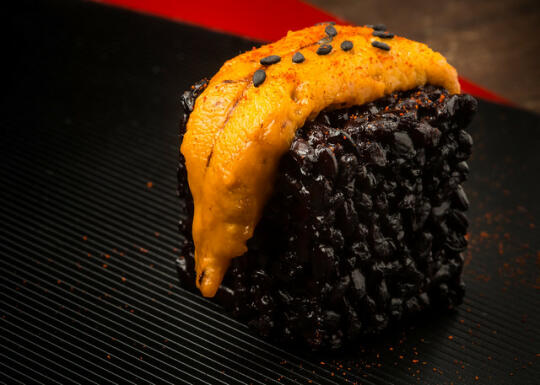 Black rice sushi cube with uni and smoked paprika