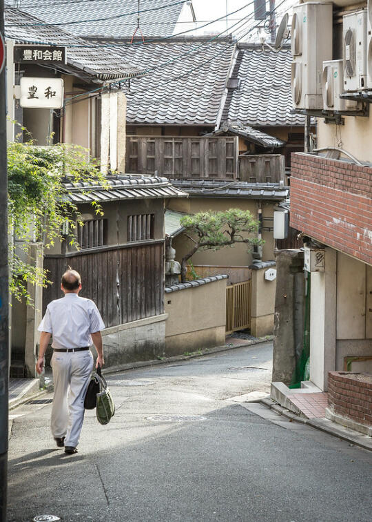 Beautiful houses down a side street in the Gion area