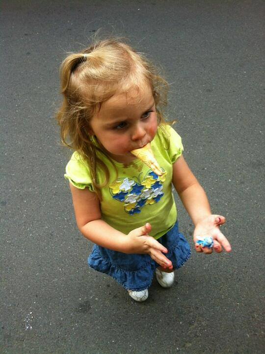 Bug with her ice cream