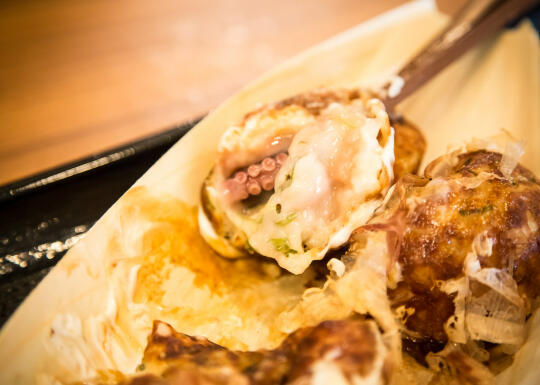 Huge piece of octopus in the takoyaki