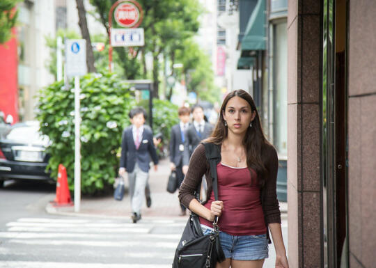 Allison walking in Ginza