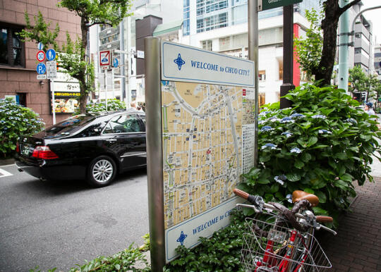 A map in Ginza