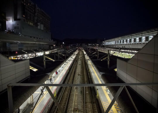 Shinkensen tracks at night