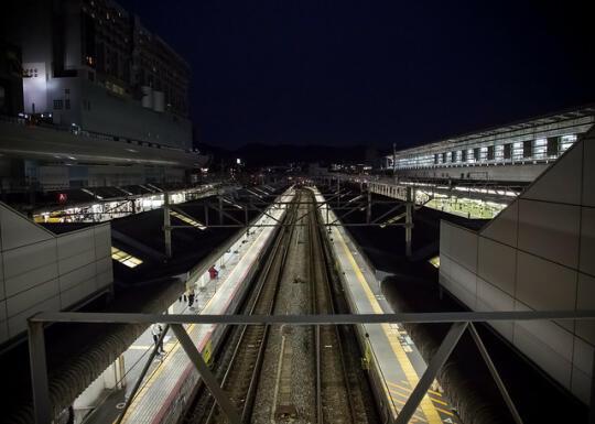 Shinkensen tracks at night