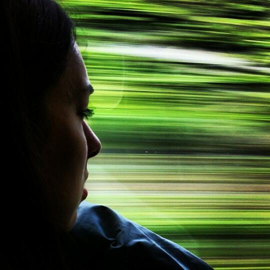 Allison on the train