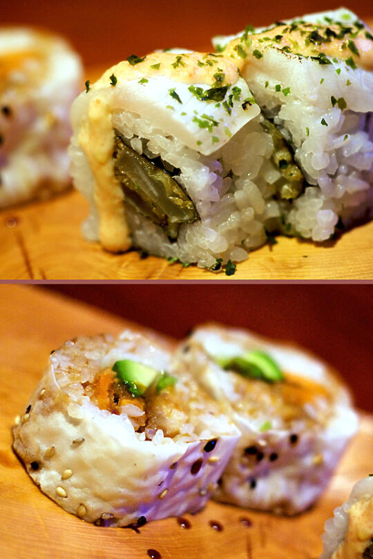 Black Cod, Tempura Onion Roll with Tarako Infused Aioli, and Namagi, Tempura Sweet Potato, and Avocado Roll