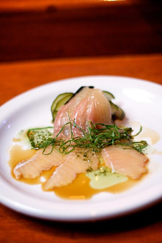 Rainbow Trout with Sunomono, Ponzu Shoyu, and Shiso infused with Grapeseed Oil