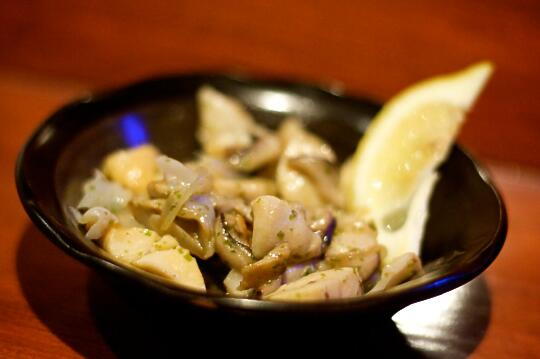 Sauteed Geoduck with Mushrooms, sauteed with aonori butter with bonito flakes
