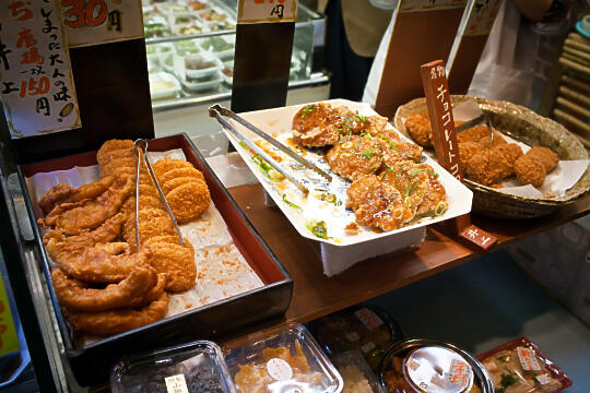Fried potato and fish cakes at Nishiki Market