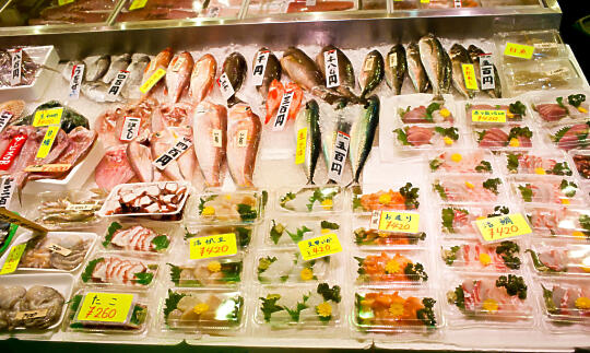 Sashimi display at Nishiki Market