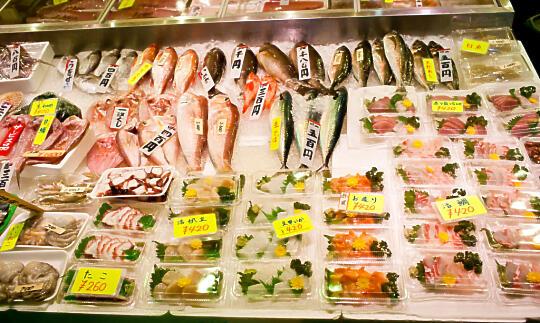 Sashimi display at Nishiki Market
