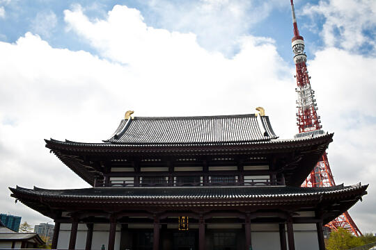 Temple with Tokyo Tower behind it