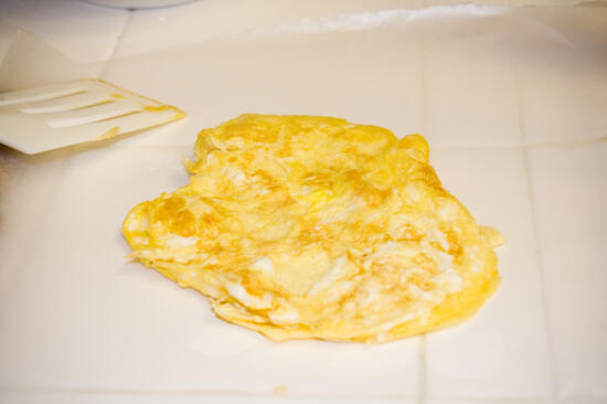 Tamago removed from the pan