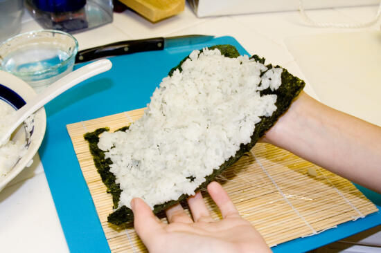 Flipping the nori over