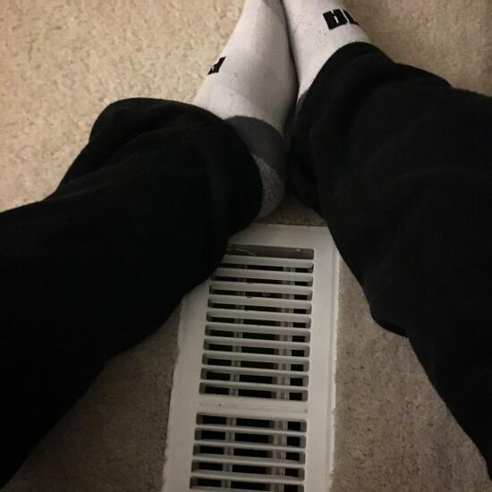 Sitting on the heater