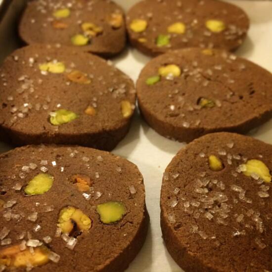 Chocolate chia pistachio cookies