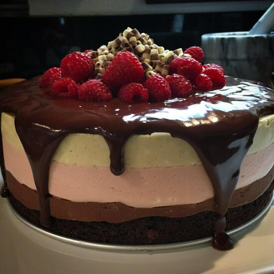 Raspberry chocolate mousse cake