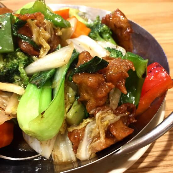 Bok choy and vegan chicken