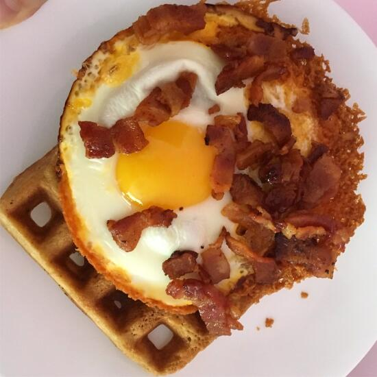 Waffle with frico egg and bacon