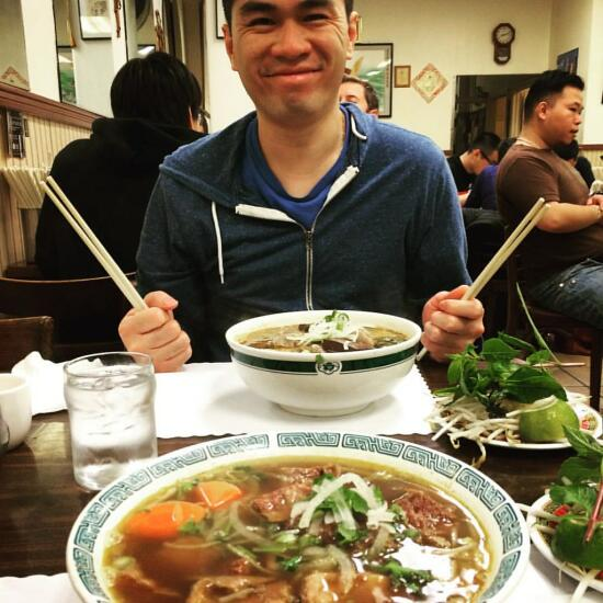 Son with his bun bo hue