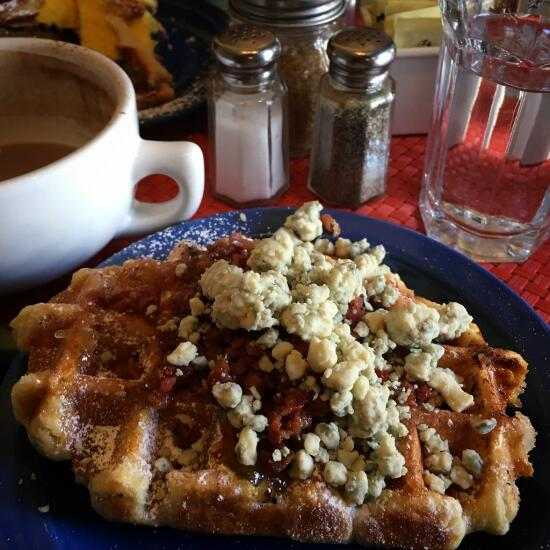Bacon and blue cheese waffle