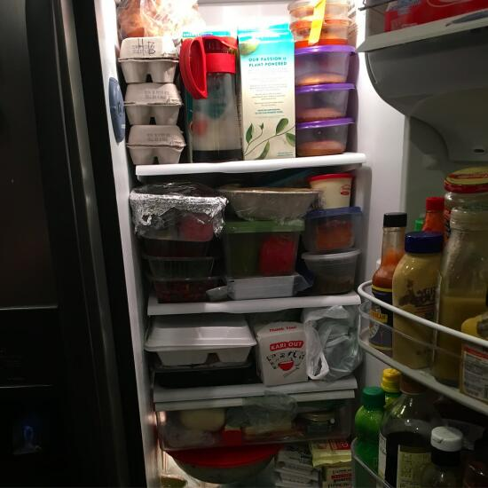 A packed refrigerator