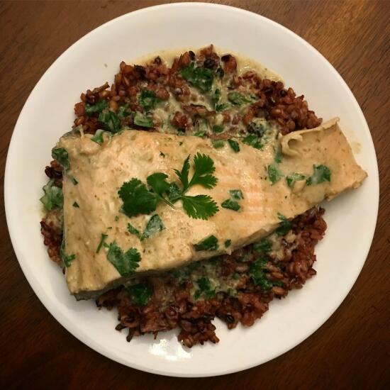 Green curry salmon
