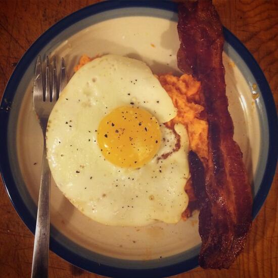 Mashed sweet potato, bacon, egg
