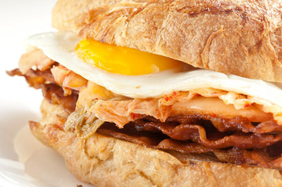 Kimchee, bacon, and egg sandwich