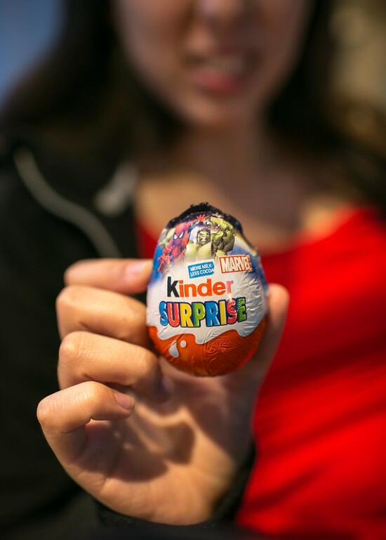 Allison with a Kinder egg