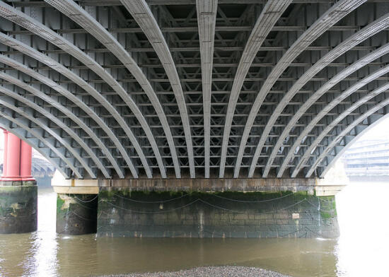 The underside of a bridge