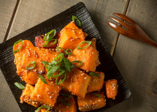 butternut squash with gochujang and sesame