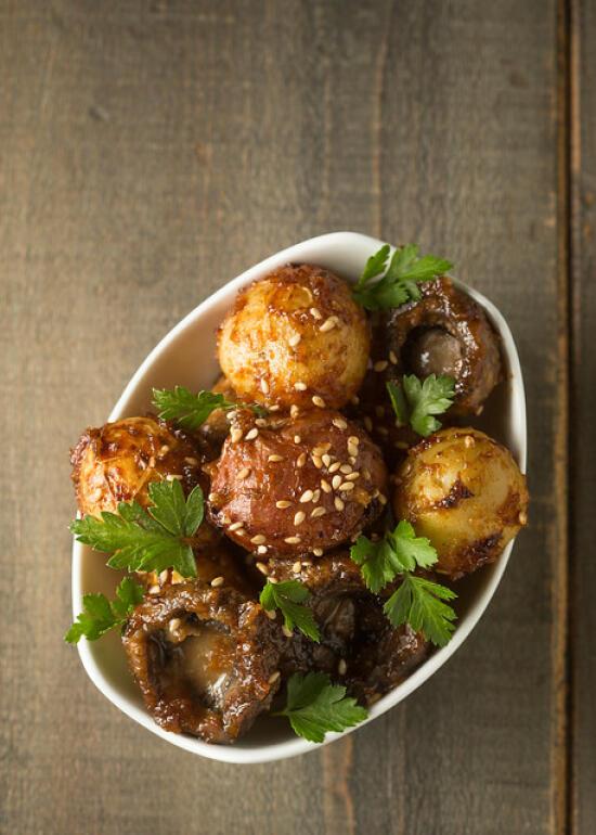 miso-roasted potatoes and mushrooms