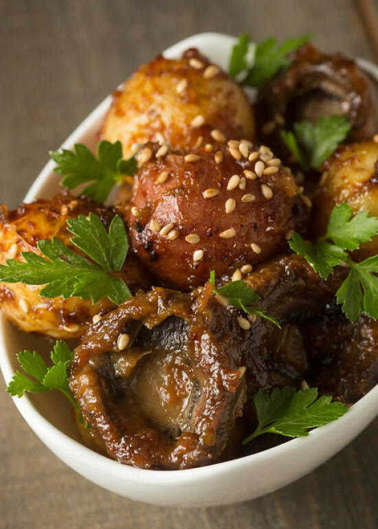 miso-roasted potatoes and mushrooms
