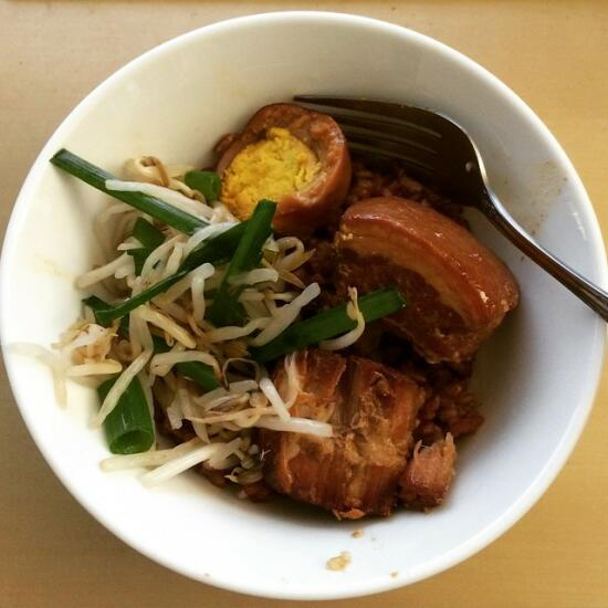 Vietnamese braised pork belly and pickled bean sprouts