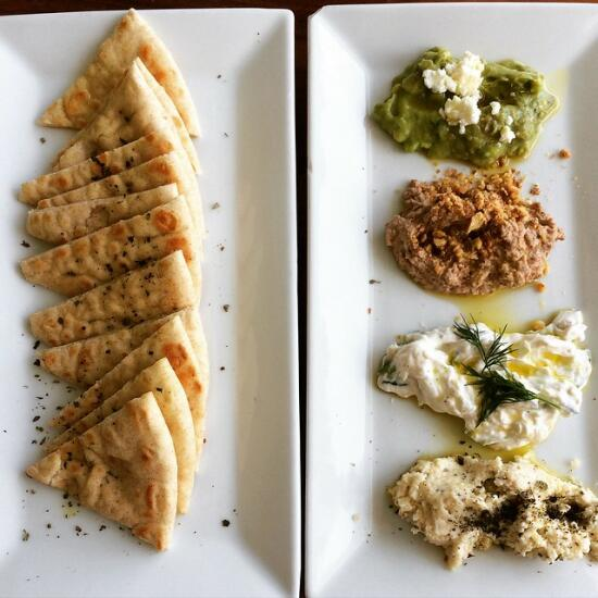Mediterranean dips with pita bread