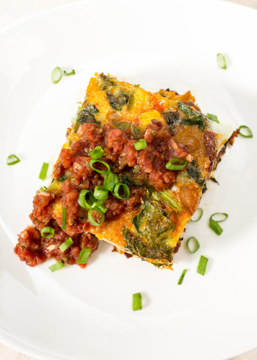 spinach, chorizo, and chickpea frittata