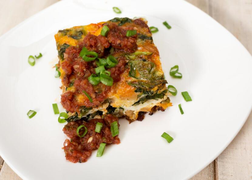 spinach, chorizo, and chickpea frittata