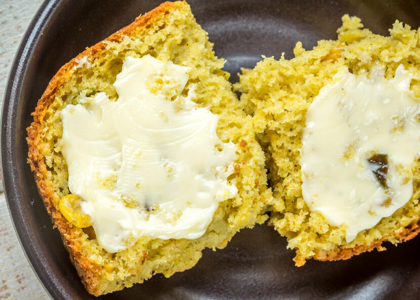 Mealie bread - zambian cornbread with roasted poblanos, topped with butter