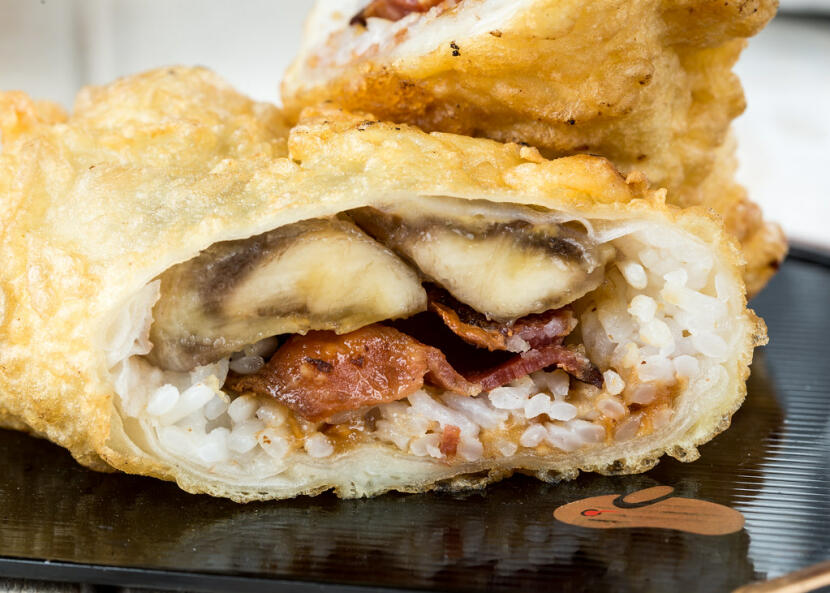 tempura bacon banana roll