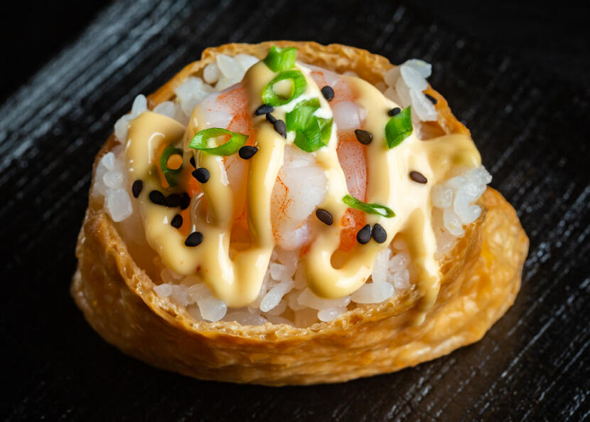 Spicy Shrimp Inari Sushi