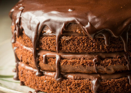 chocolate layer cake with chocolate ganache